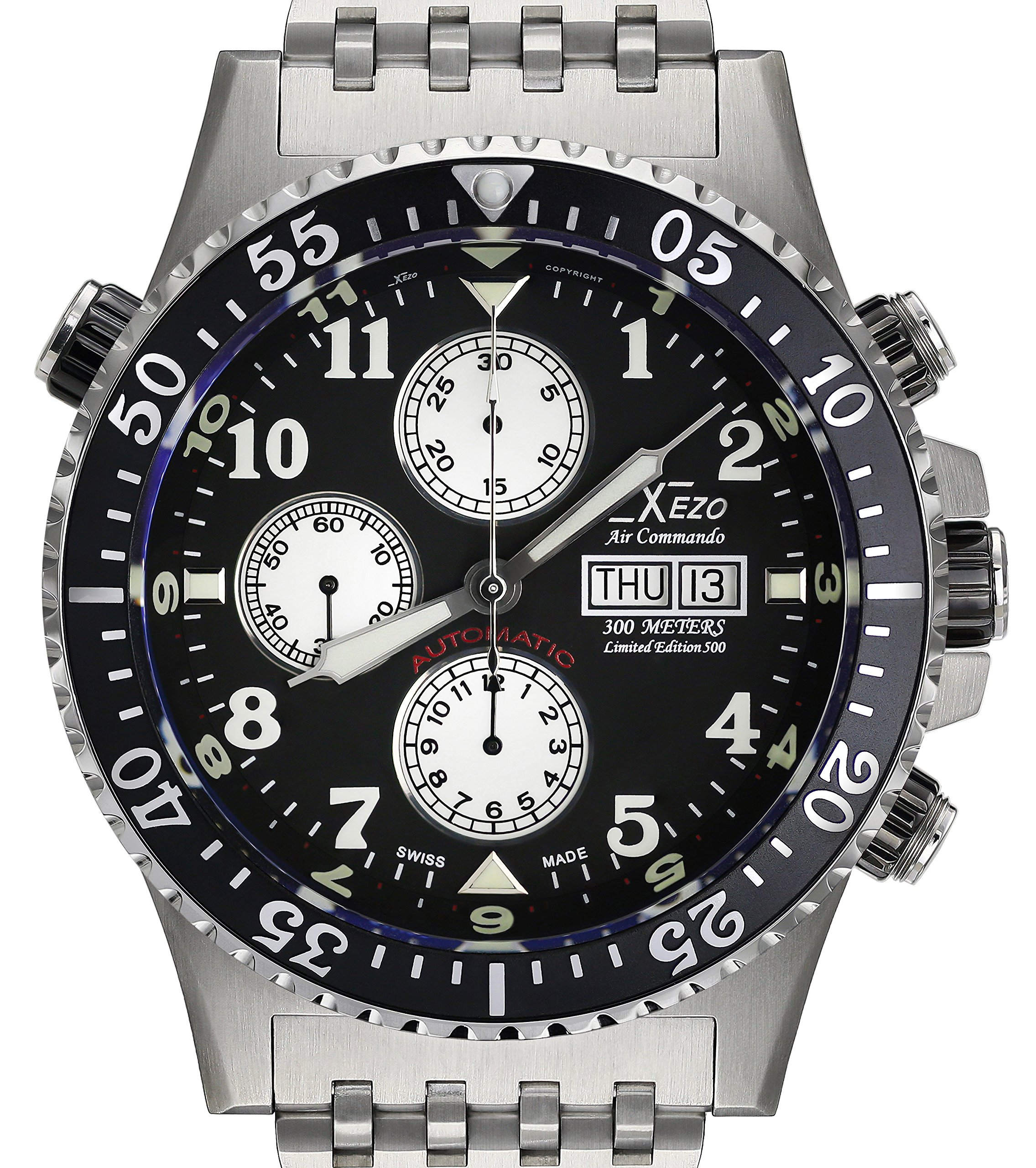 Xezo Men's Air Commando Diver, Pilot Swiss Automatic Valjoux 7750 Chronograph Wrist Watch. 2nd Time Zone. All Solid Steel. Diamond-cut Numbers. Waterproof 30 Bars by Xezo