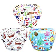 Wegreeco Baby & Toddler Snap One Size Adjustable Reusable Baby Swim Diaper (Sealife,Large,3 Pack)