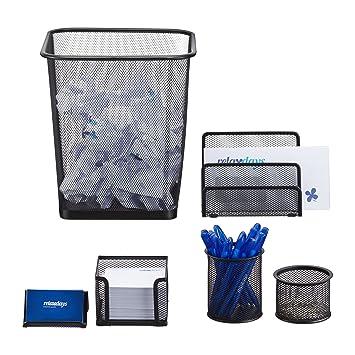 kleiner B/üroorganizer Relaxdays Schreibtischorganizer 5 Ablagen Stiftek/öcher Briefablage Metallgeflecht schwarz