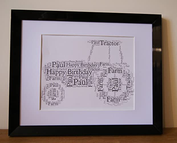 Personalised Word Art Print Tractor Farm Father Dad Birthday Card Gift Frame Amazoncouk Handmade