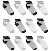 Simple Joys by Carter's Baby Boys' 12-Pack Sock Ankle, Gray, White, 0-6 Months