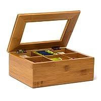 Relaxdays Teebox aus Bambus H x B x T: ca. 9 x 28 x 16cm Teekasten mit 6 oder 8 Fächern Teebeutelbox aus Holz mit Deckel samt Sichtluke Teekiste zum Bewahren des Aromas für intensiven Teegenuss, natur
