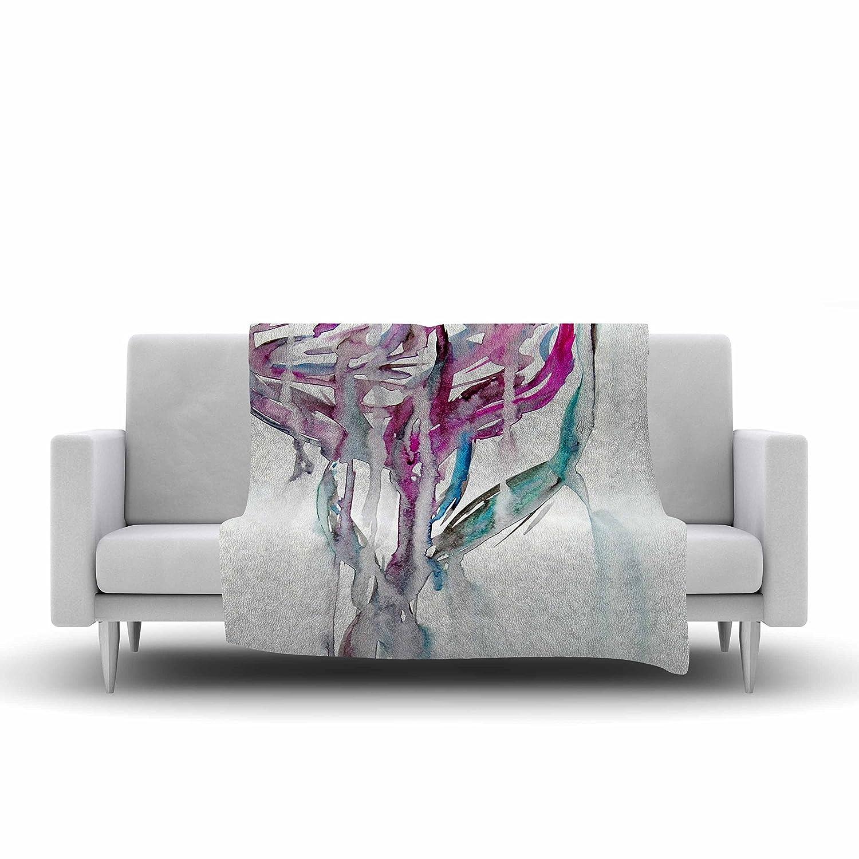 80 X 60 80 by 60-Inch Kess InHouse Malia Shields Lovely Watercolor Flower Megenta Floral Fleece Throw Blanket
