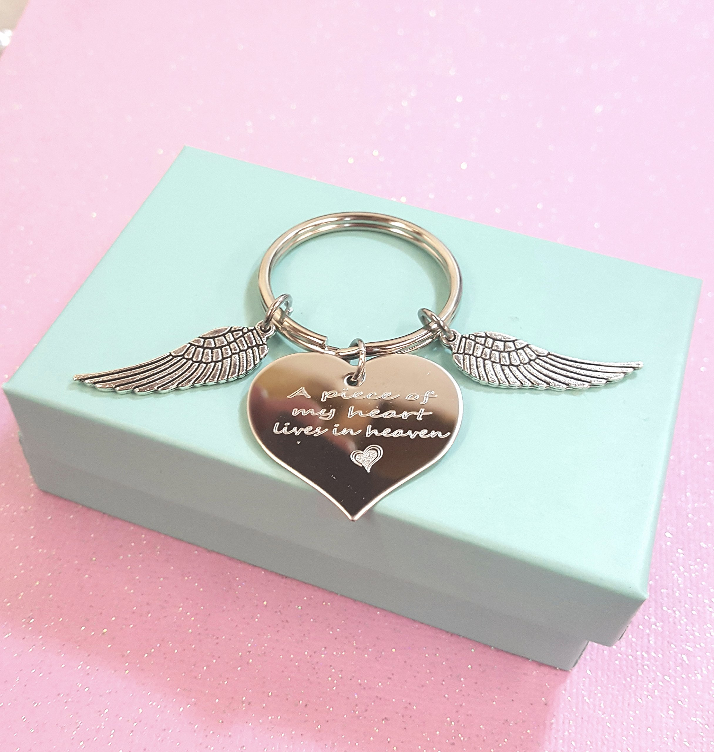 A Piece Of My Heart Lives In Heaven Heart Keychain Wings with Heart