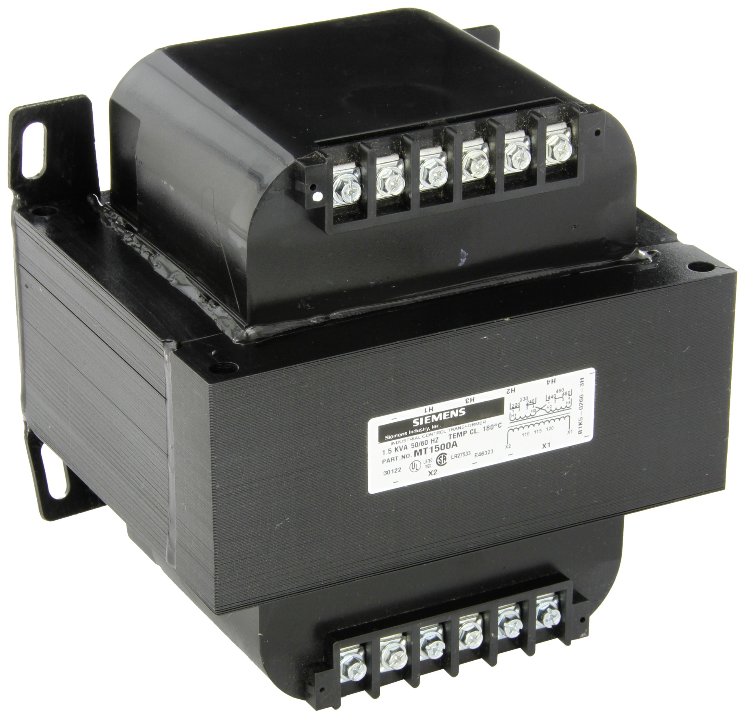 Siemens MT1500A Industrial Power Transformer, Domestic, 240 X 480, 230 X 460, 220 X 440 Primary Volts 50/60Hz, 120/115/110 Secondary Volts, 1500VA Rating