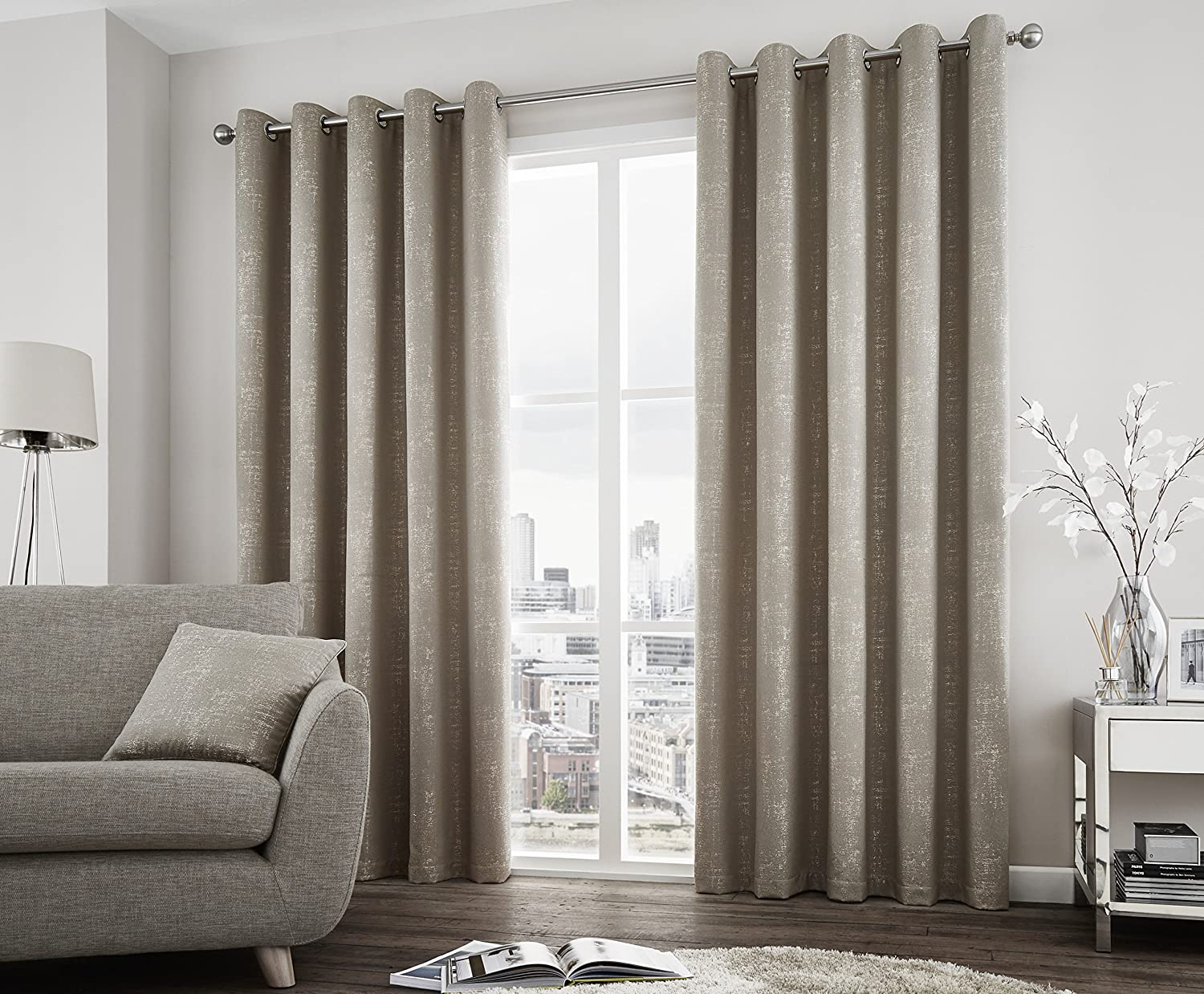 JACQUARD TREES GRAPHITE GREY HEAVYWEIGHT LINED RING TOP CURTAINS *7 SIZES*