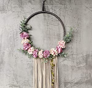 "RISEON Handmade 32"" Long Large Tassel Dream Catcher Wall Hanging Decoration Macrame Fringe Floral Flower Wreath Dreamcatcher Boho Home Decor Ornament Gift (Purple)"