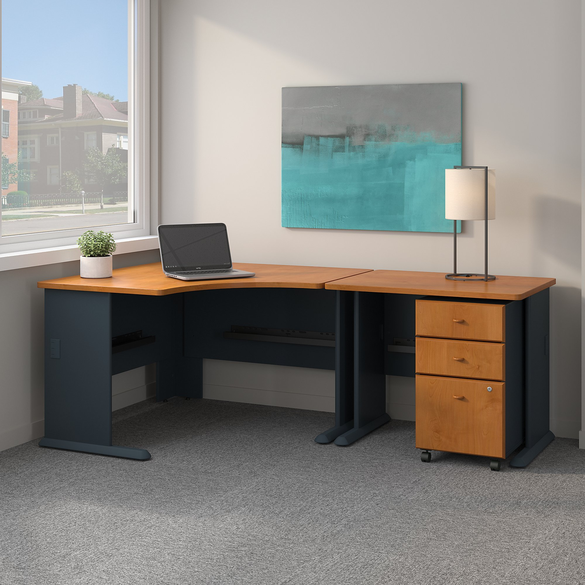 Bush Business Furniture Series A 48W Corner Desk with 36W Return and Mobile File Cabinet in Natural Cherry and Slate by Bush Business Furniture (Image #2)