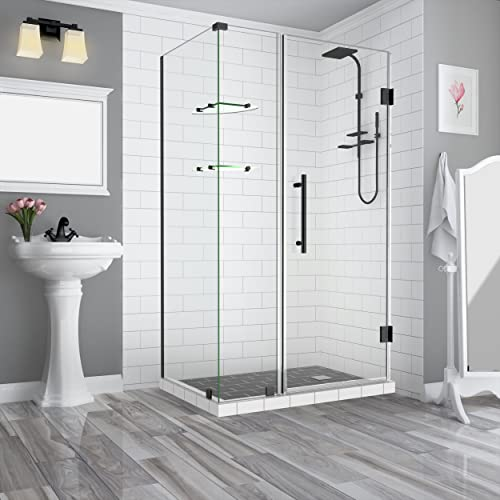 Aston SEN962EZ-ORB-493538-10 Bromley GS Frameless Hinged Shower Enclosure with StarCast Clear Glass and Shelves, 48.25 to 49.25 x 38.375 x 72 , Oil Rubbed Bronze
