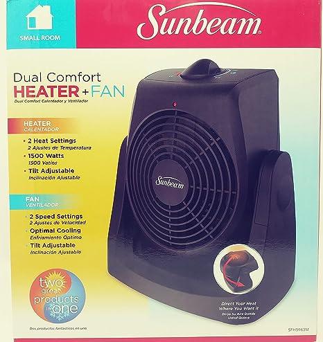 SUNBEAM - Calentador y Ventilador (Doble Comodidad), Color Negro ...