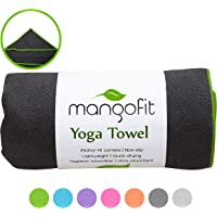 #1 Best Hot Yoga Towel With Anchor Fit Corners for your Mat by MangoFit - 100% Hygienic NEW Microfiber Fast Absorbent - Skidless Non-Slip Yoga Towel With Pockets - Great for Pilates Gym and Beach!