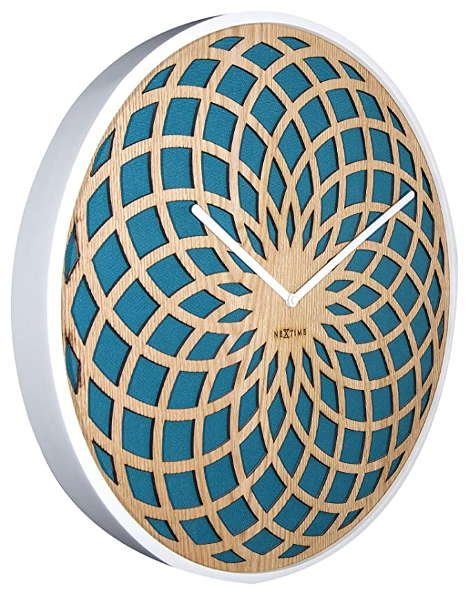 Amazon.com: NEXTIME Unek Goods Sun Wall Clock, Turquoise Fabric, Natural Wooden Face, White Frame Hands, Large: Home & Kitchen