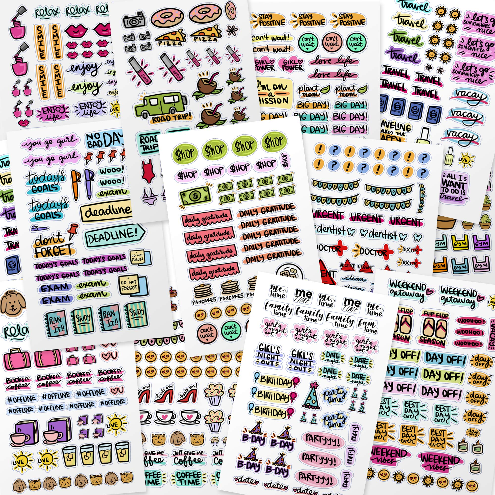 Planner Stickers - Value Pack of Productivity, Inspirational, Holiday, Fitness, Teacher Stickers for Daily, Weekly, Monthly Planner, Journal, Calendar, Agenda by Savvy Bee (22)