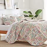 SLEEP ZONE 3-Piece Printed Quilt Set - Full/Queen Size (2 Pillow Shams) - Lightweight Reversible Bedding Coverlet Set for All