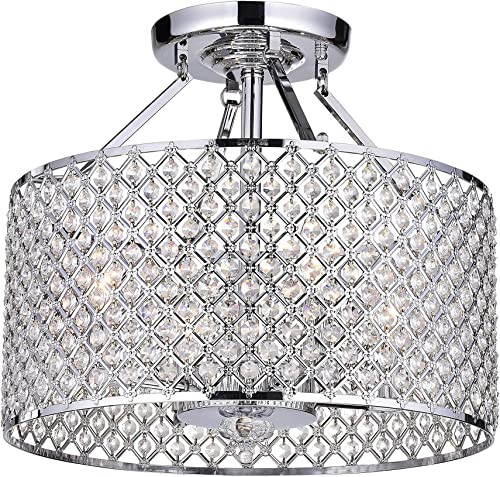 Chrome Crystal 4-Light Round Ceiling Chandelier