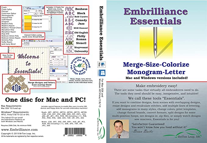 Amazon Com Embrilliance Essentials Embroidery Software For Mac Pc
