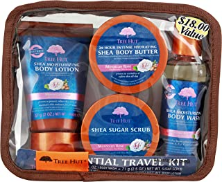 product image for Tree Hut Essential Travel Kit, Moroccan Rose, 4 Items in One Bag, for Nourishing Essential Body Care on The Go!