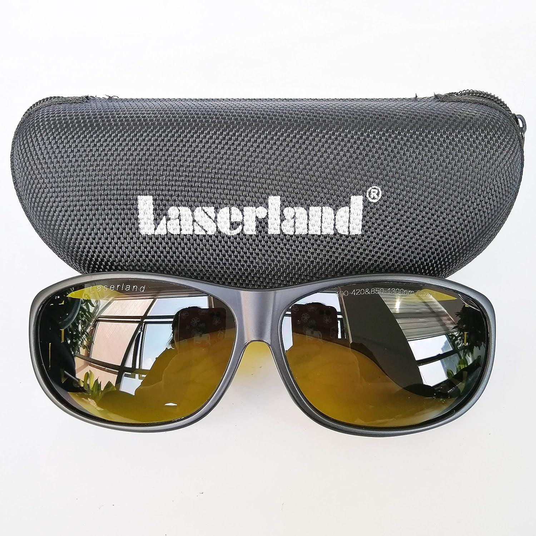 Laserland Gafas de protección láser T5, 1064 nm, 190-420 nm, 850-1300 nm, VLT28%, corte de 1070 nm, 1080 nm, 1100 nm OD4+OD6+ fibra laser YAG