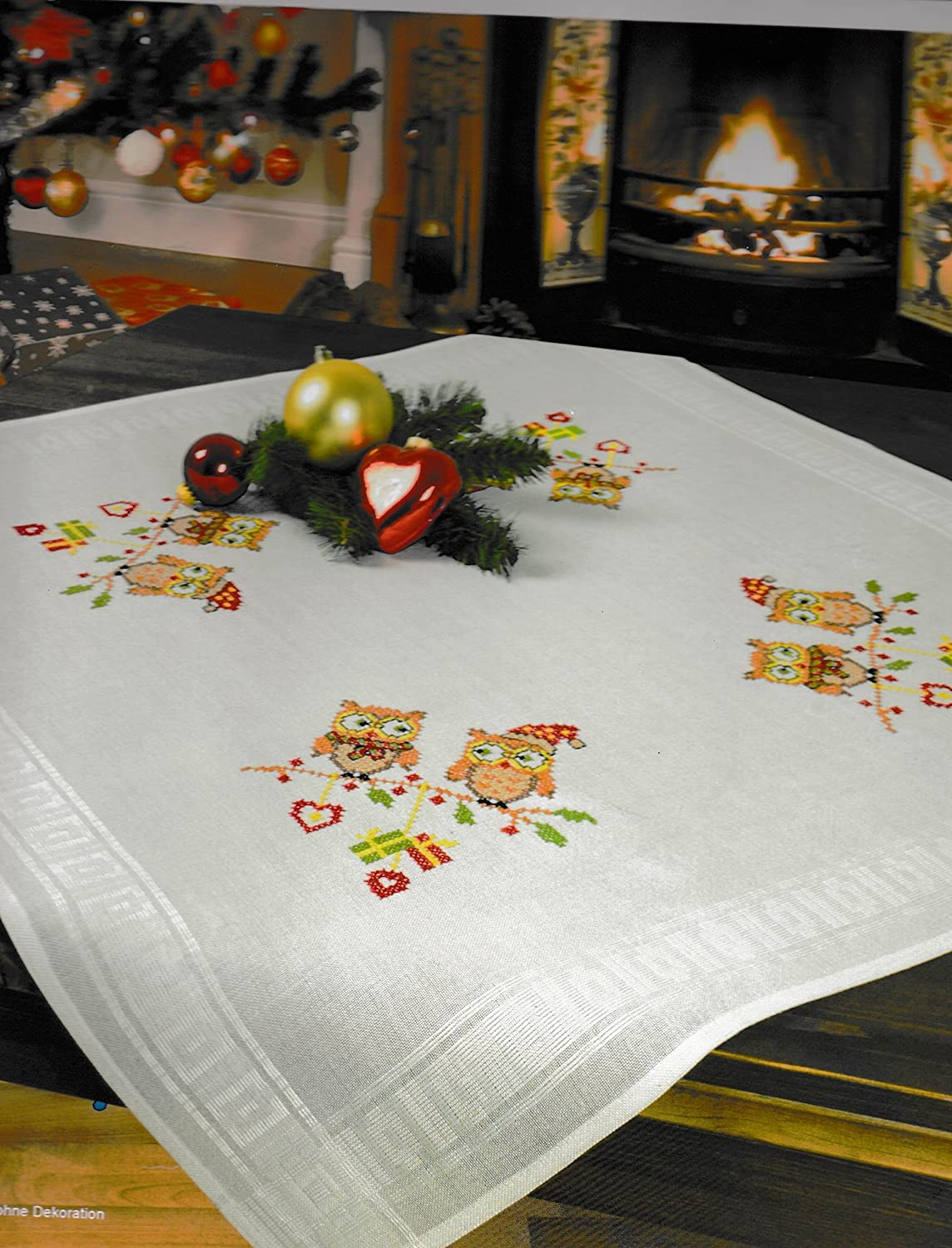 Printed Stamped Cross Stitch Tablecloth Kit for Embroidery Roses II 6824
