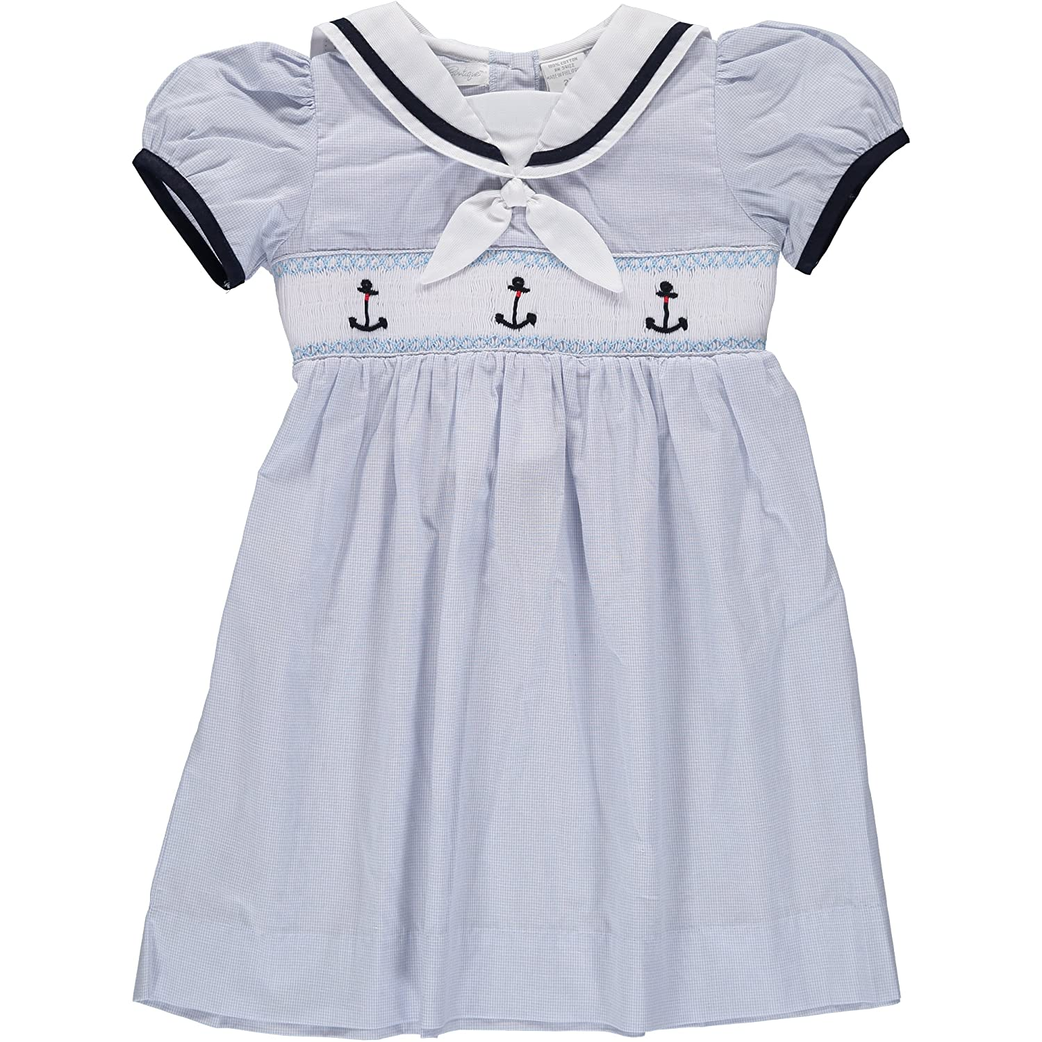 Kids 1950s Clothing & Costumes: Girls, Boys, Toddlers Smocked Anchor Blue Dress Baby Toddler Carriage Boutique  $58.00 AT vintagedancer.com