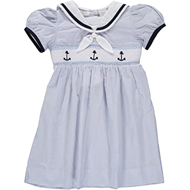 f43cdc54d Amazon.com: Carriage Boutique Smocked Anchor Blue Dress: Clothing