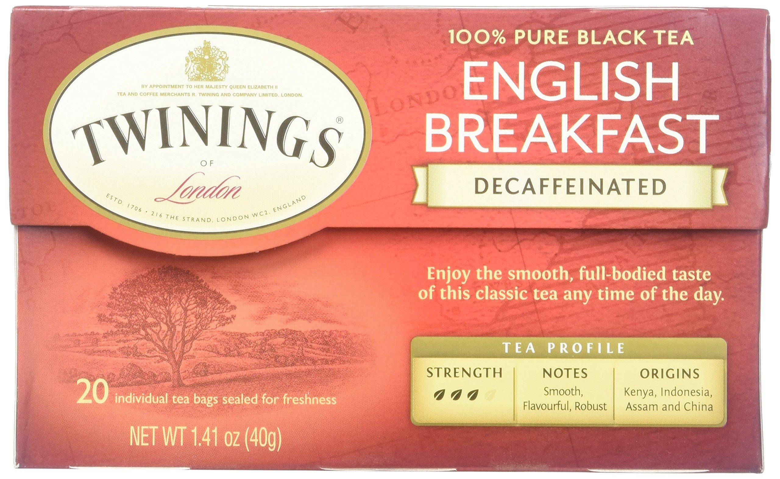 Twinings English Breakfast Tea, Decaffeinated, Tea Bags, 20 ct
