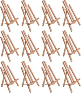 """U.S. Art Supply 11"""" Small Tabletop Display Stand A-Frame Artist Easel (Pack of 12), Beechwood Tripod, Painting Party Easel, Kids Student Table School Desktop, Portable Canvas Photo Picture Sign Holder"""