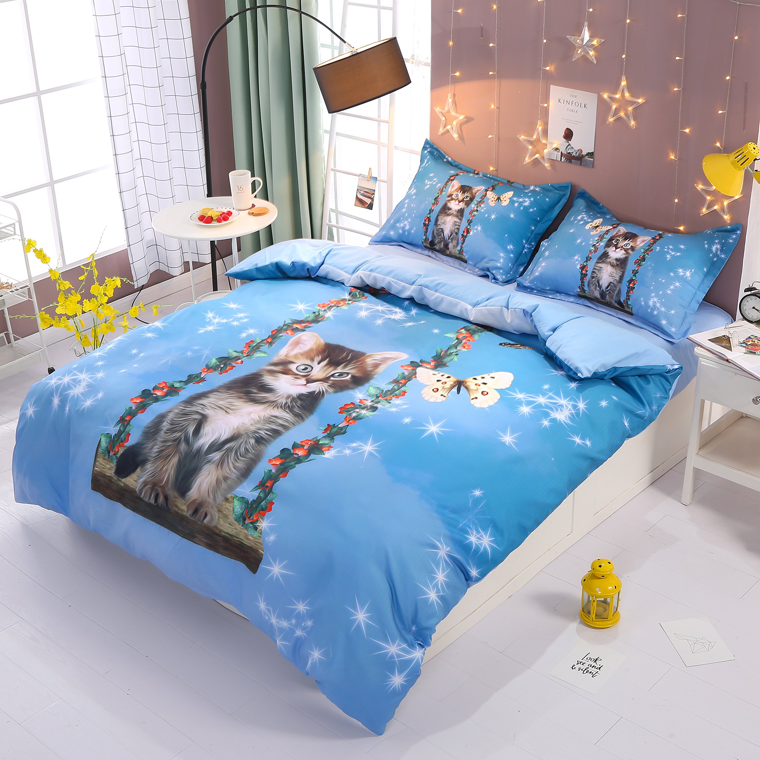 Beddinginn Cute Cat Swing Bedding Set Girls Loves 3d Duvet Cover Set Butterfly Print Girls Bed Set King Size by Beddinginn (Image #1)