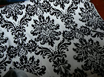 Curtains Ideas black and white damask curtains : Damask Faux Silk Taffeta Velvet Flock Curtain Fabric Black & White ...