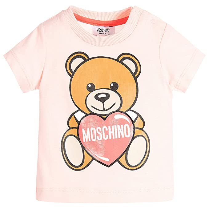 Moschino Kids Baby Girl s Teddy Bear and Heart Graphic Short Sleeve T-Shirt  (Infant b43e516557