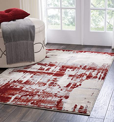 Nourison Maxell Modern/Contemporary Ivory/Red Area Rug 9'3″ x 12'9″
