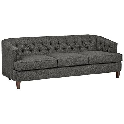 amazon com stone beam leila tufted sofa 88 w charcoal kitchen rh amazon com charcoal tufted sofa bed charcoal gray tufted sofa