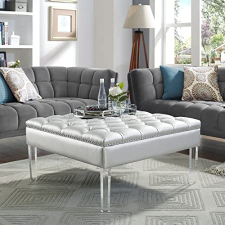 Coco Silver Leather Acrylic Ottoman – Cocktail Coffee Table Square Tufted Modern and Contemporary Inspired Home