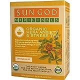 Sun God Medicinals Organic Loose Leaf Herbal Tea for Anxiety & Stress-Heka-2 oz (20-24 servings) Caffeine Free, Brew Hot…