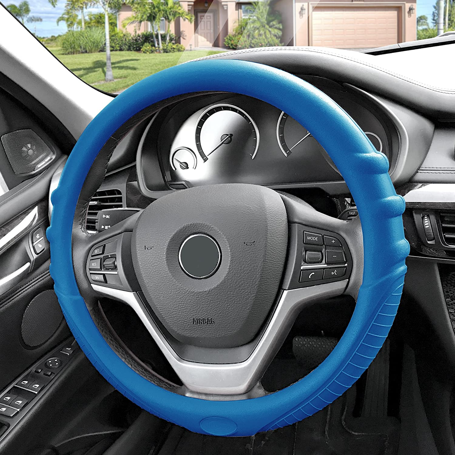 FH Group FH3003GRAY Gray Steering Wheel Cover Silicone W. Grip /& Pattern Massaging grip Gray Color-Fit Most Car Truck Suv or Van
