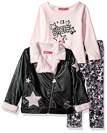 55f70b53391a Amazon.com  Betsey Johnson Girls  Toddler 3 Pc Rockstar Jacket Set ...