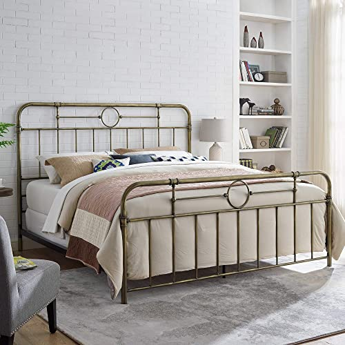 WE Furniture Industrial Metal Pipe King Bed, Bronze