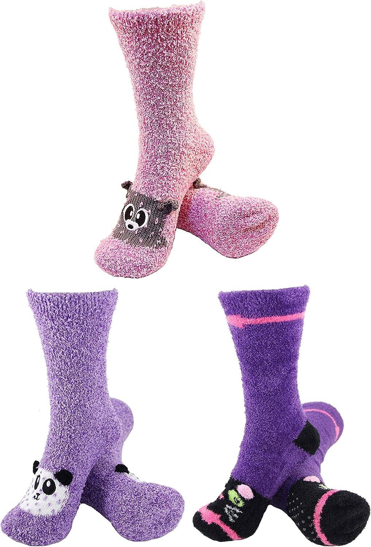 BambooMN Super Soft Warm Cute Animal Face Non-Slip Fuzzy Crew Winter Home Socks, Value Pack