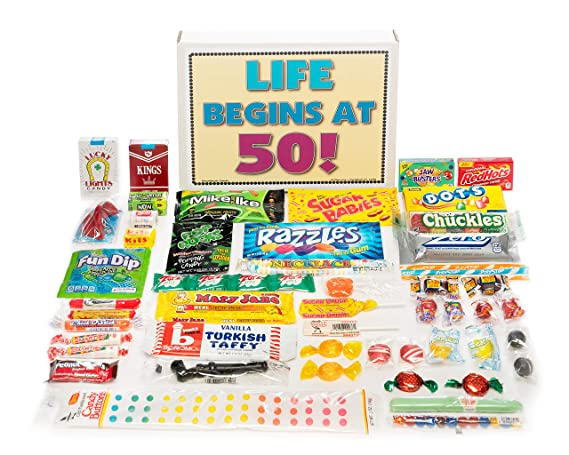 50th Birthday Party Celebration Gift Basket Box Of Retro Nostalgic Candy