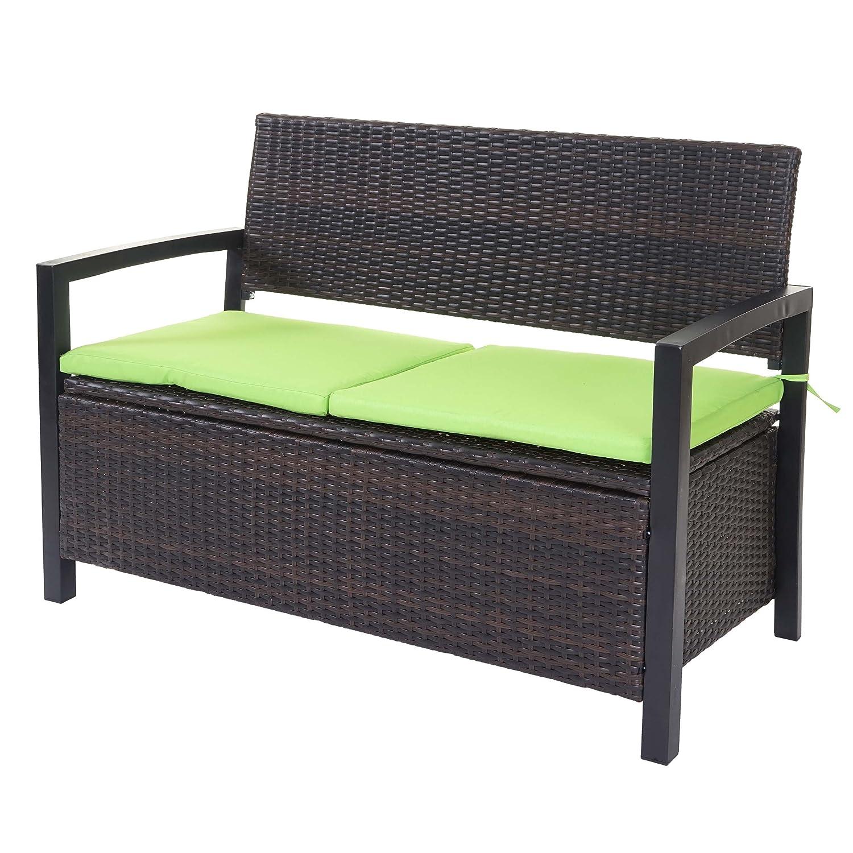 Mendler Divano Sofa Contenitore per l'esterno HWC-A12 polyrattan Marrone con Cuscino Verde