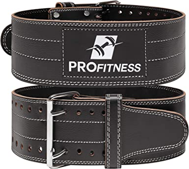 ProFitness Genuine Leather Workout Belt (4 Inches Wide) - Proper Weight Lifting Form - Lower Back Support for Squats, Deadlifts, Cross Training