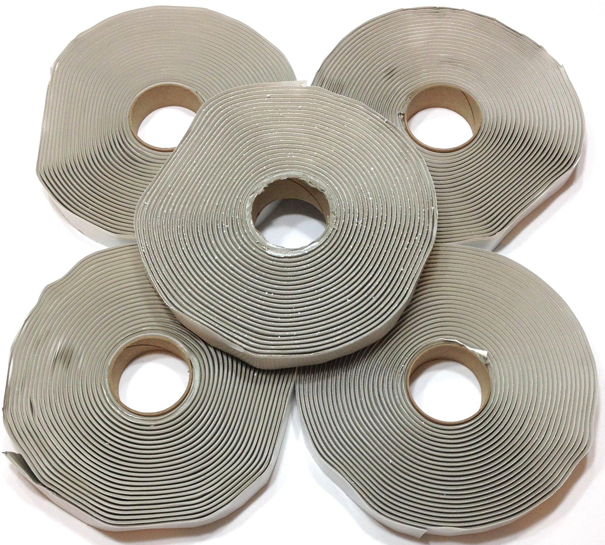 Colorimetrics Gray Putty Tape / Butyl Tape 1/8'' x 3/4'' x 30' (5-Pack)