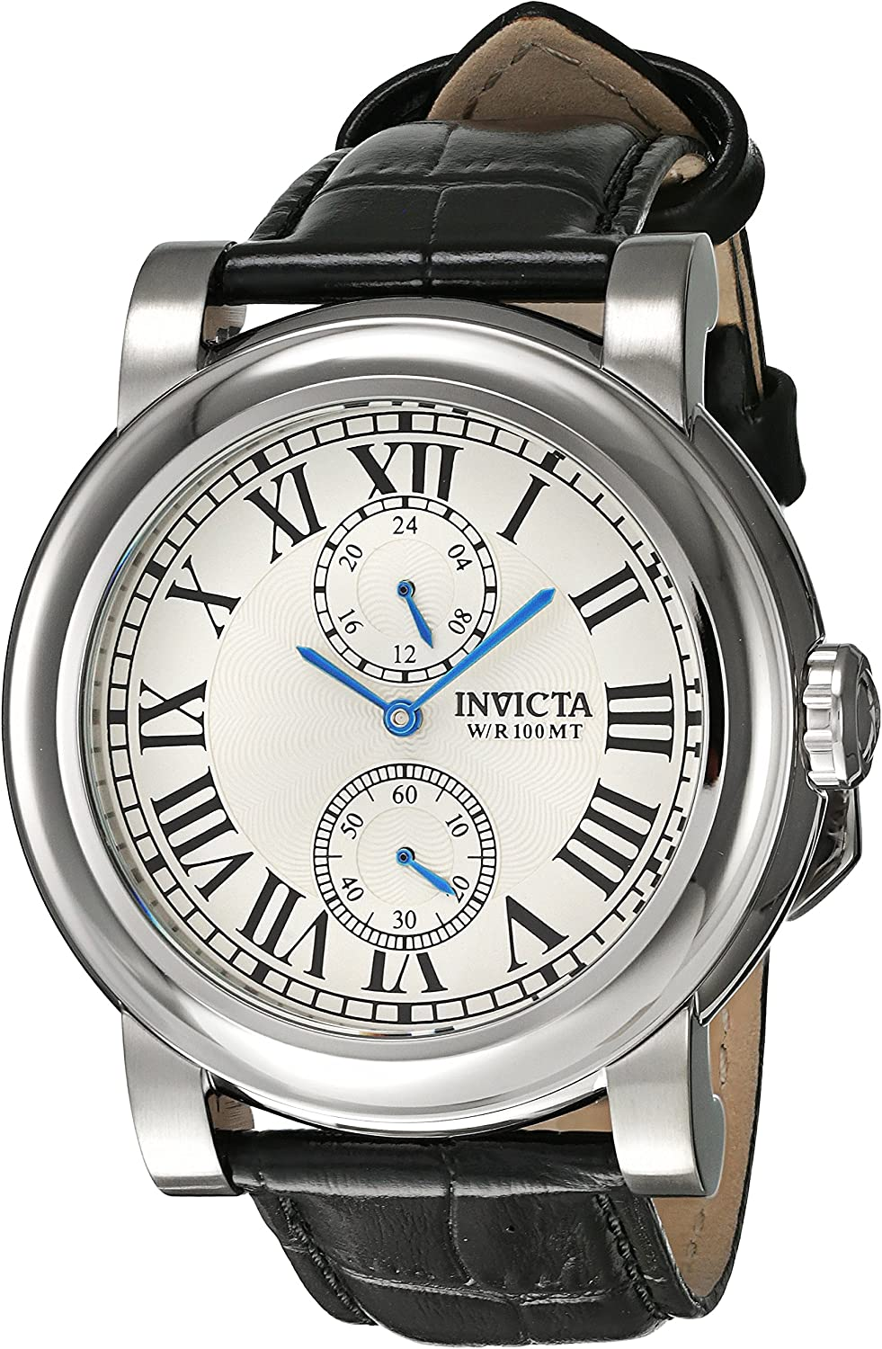 Invicta Men s I-Force Black Leather Band Steel Case Quartz Silver-Tone Dial Analog Watch 22255