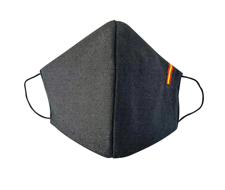 Mascarilla reutilizable Adultos Talla L,Unisex,color Negro con la Bandera de España, protección de filtración muy alta, fabricada en España.