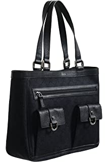 a0db20603034 Gucci Women s Black GG Print Canvas Leather Trimmed Abbey Pocket Tote Bag