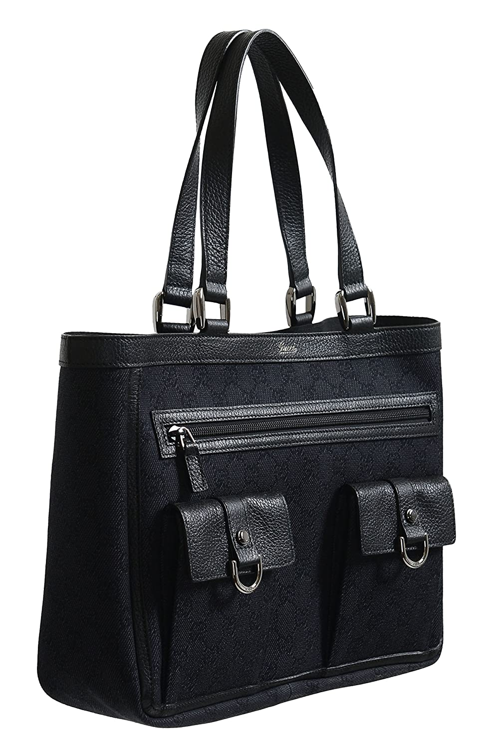 852446d92cb Amazon.com  Gucci Women s Black GG Print Canvas Leather Trimmed Abbey  Pocket Tote Bag  Clothing