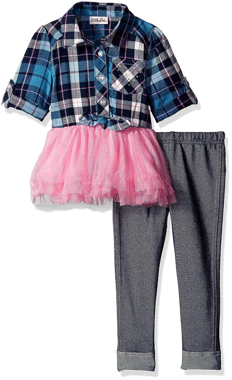 Little Lass Girls 2 Piece Legging Set Plaid Glitter