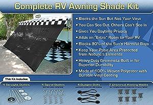 EZ Travel Collection RV Awning Shade Kit Black Motorhome Awning Screen Trailer Kit 10x15