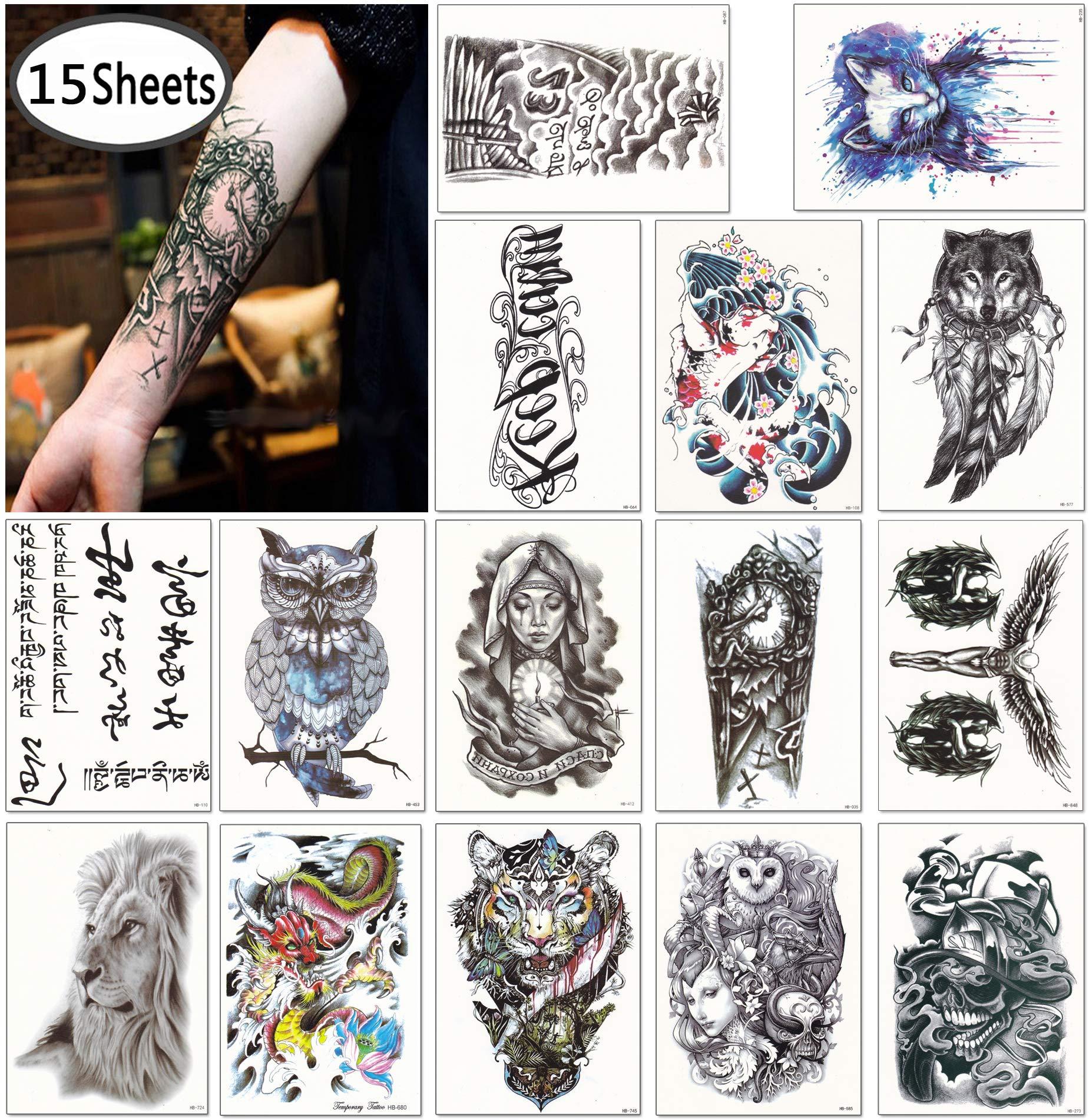 8fd57c78a Amazon.com : DaLin Large Temporary Tattoos Half Arm Tattoo Sleeves 15  Sheets, Robot Arm, Dead Skull, Koi Fish, Lion, Owl, Dragon, Tiger and more  : Beauty