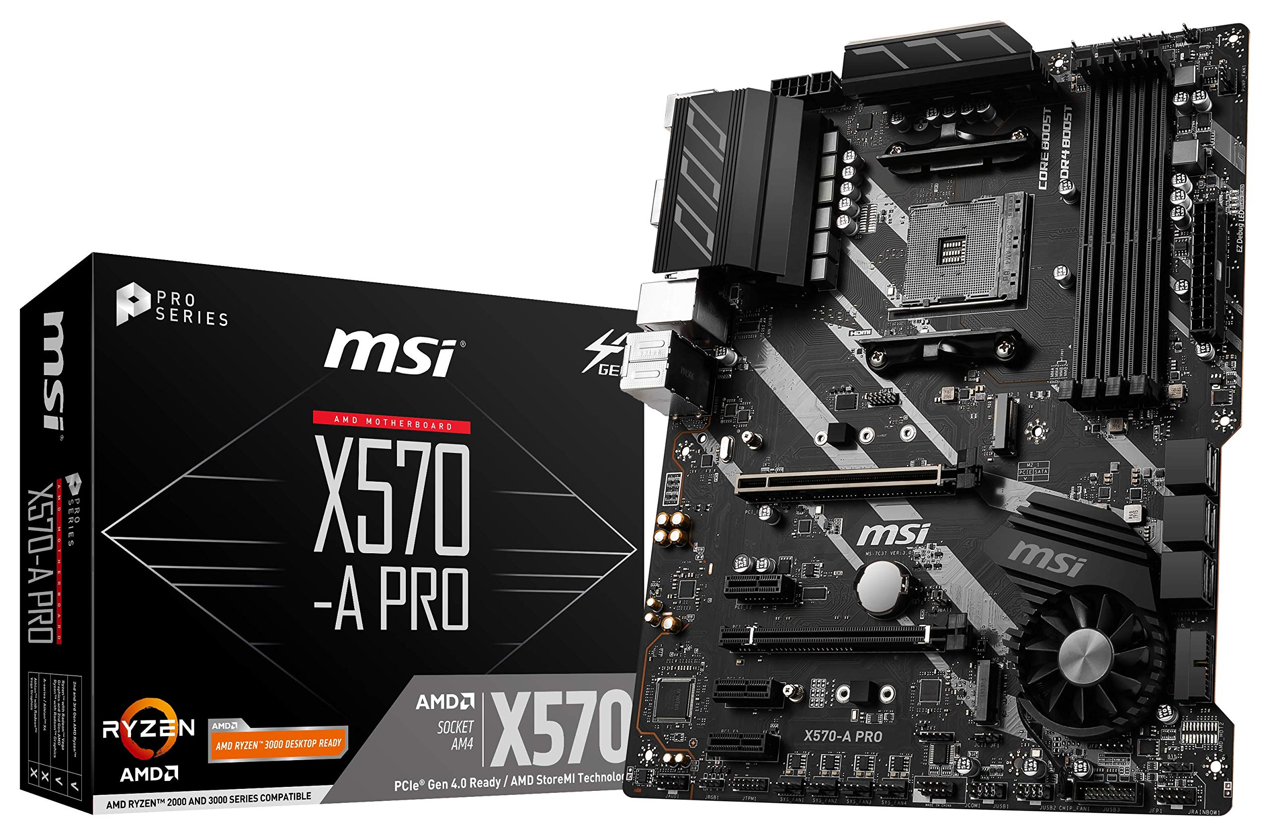 MSI X570-A PRO Motherboard (AMD AM4, DDR4, PCIe 4.0, SATA 6Gb/s, M.2, USB 3.2 Gen 2, HDMI, ATX) by MSI